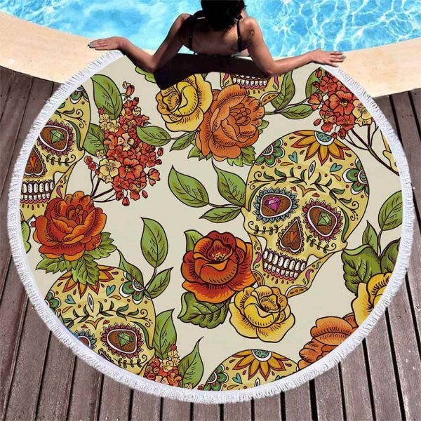 towel of beach head of dead skull mexican red 1
