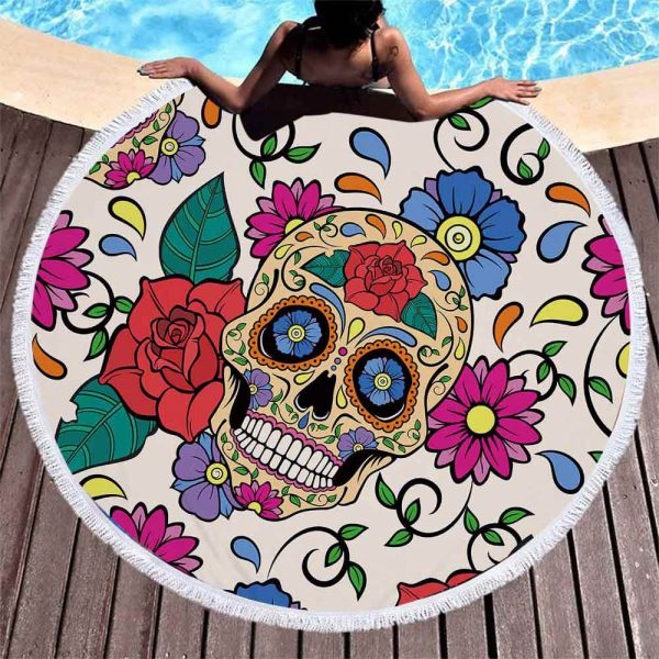 towel of beach head of dead skull mexican red