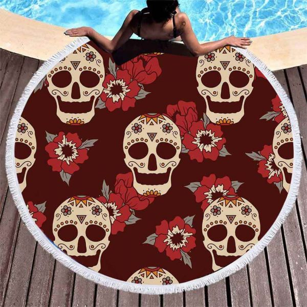 towel of beach head of dead skull mexican red accessory head of death