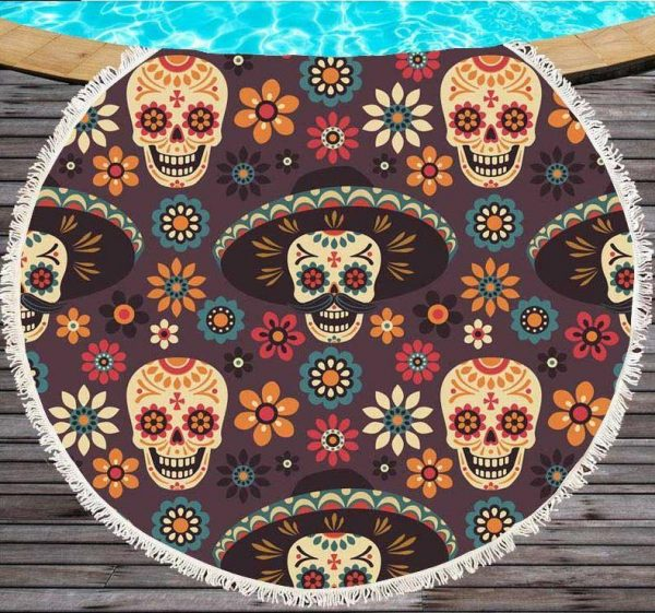 towel of beach head of dead skull mexican red buy