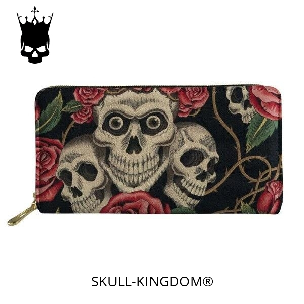 wallet head of dead skulls flowery buy
