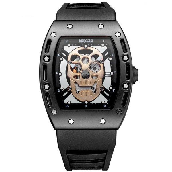 watch head of dead skull metal black gold buy